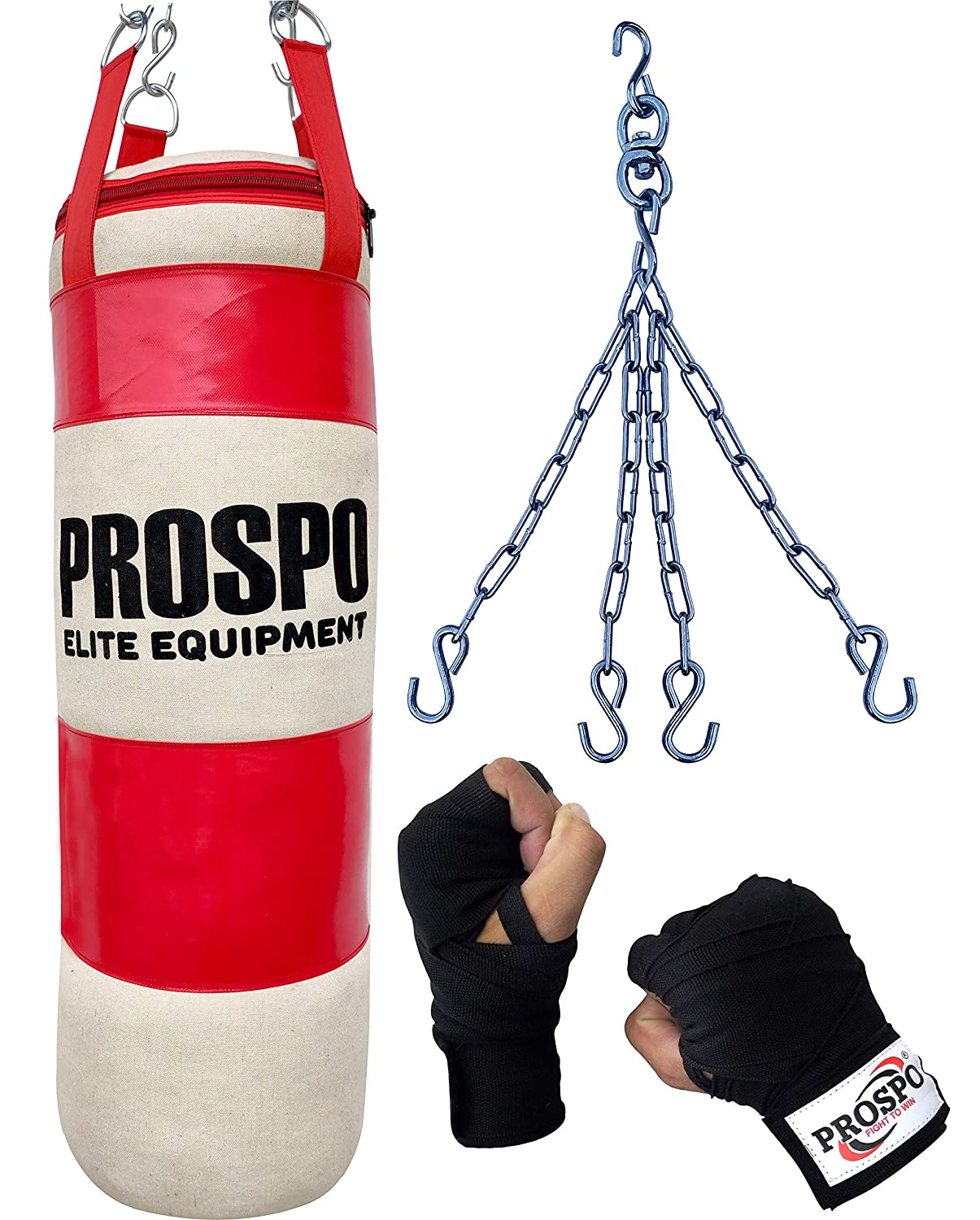 """Prospo 36"""" Extra Strong and Heavy Hard Canvas Punching Bag with Hand wrap and Chain Color May Vary"""