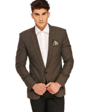 Fashionable Brown Polyviscose Jacket For Mens