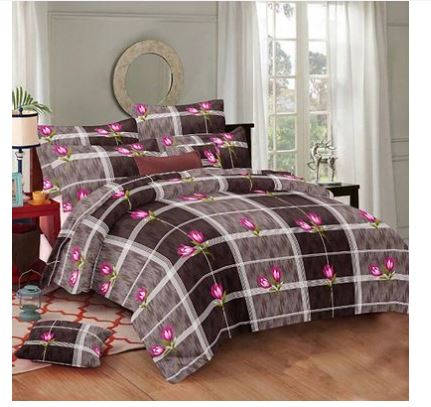 Trendy Attractive Microfiber Double 1 Bedsheet + 2 Pillowcovers