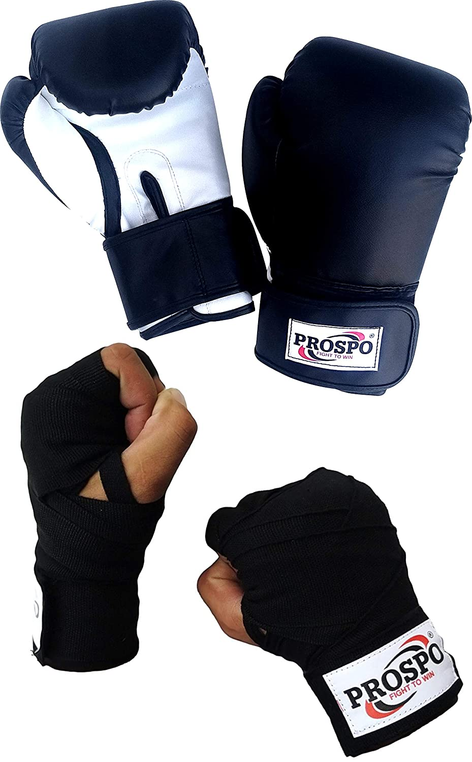 Prospo 12 oz Training and Fighting Boxing Gloves with Hand wrap Gloves   (syenthetic Leather)