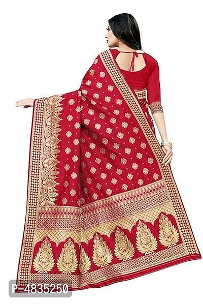 Stunning Red Zari Woven Polycotton Women Saree with Separate Blouse Piece