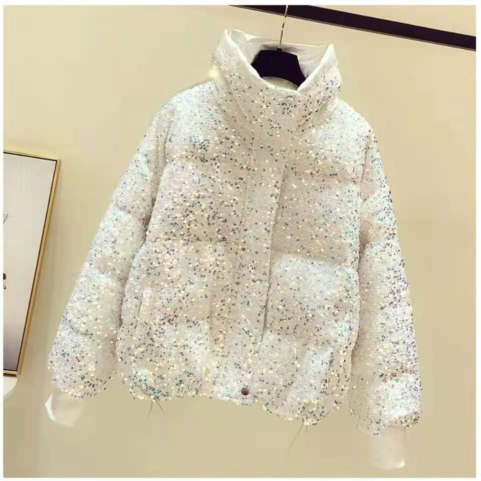 Sequined stand-up collar short bread jacket