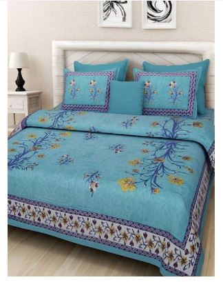 Stylish Multicoloured Cotton Queen Size Bedsheet With 2 Pillow Covers