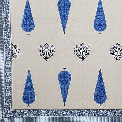 Modern Blue Buti Print 88*106 Cotton Double Bedsheet with 2 Pillow Cover