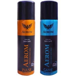 Aerom Pulse and Game Deodorant Body Spray For Men, 300 ml (Pack of 2),