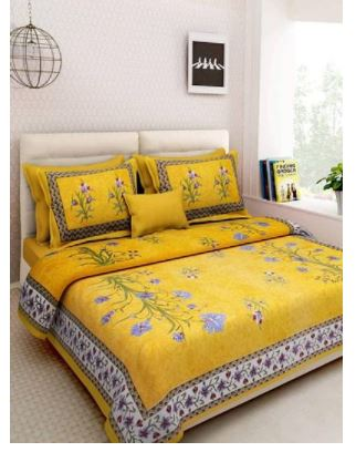 Comfortable Yellow Cotton Floral Queen Bedsheet with Two Pillow Covers