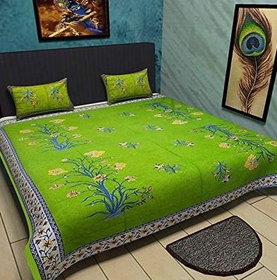 Premium Cotton Green Bedsheet With 2 Pillow Covers