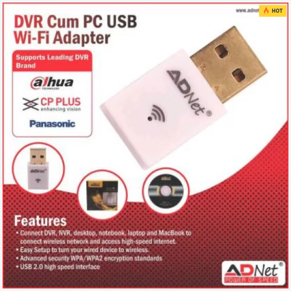 ADNET DVR WIFI RECEIVER CT-WID-018 CCTV AND PC/LAPTOP WIRELESS USB ADAPTER