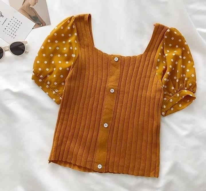 Imported polka button top