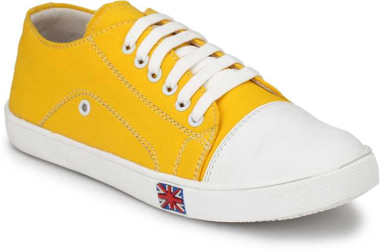 Cyro  Men's Yellow Smart Canvas Casual Shoes Sneakers For Men  (White, Yellow)