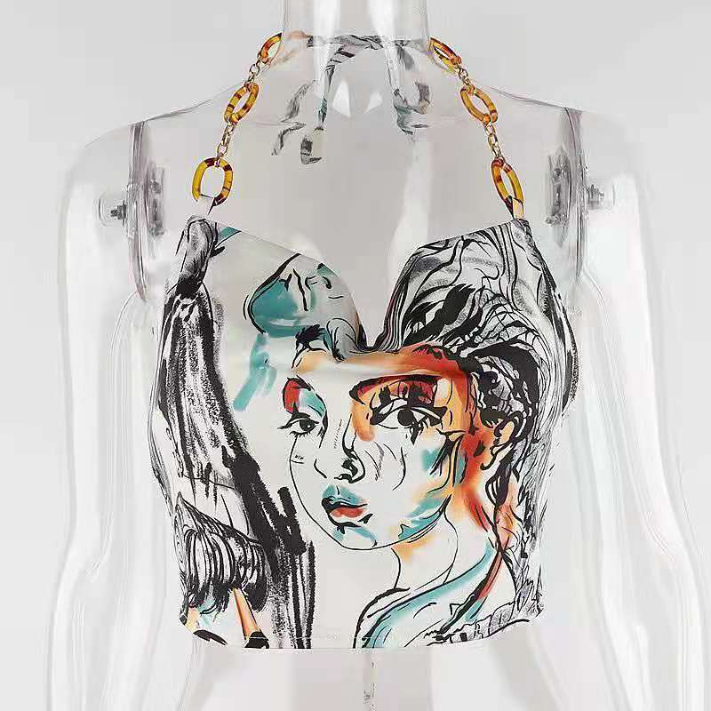 WHEREMERY European and American street style face print lace halter vest female