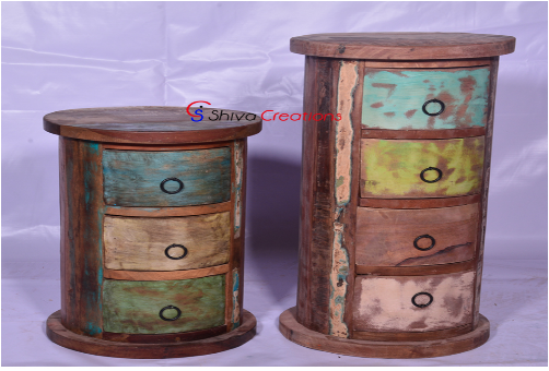 Reclaimed Recycled Wood Round Drum Chest Furniture