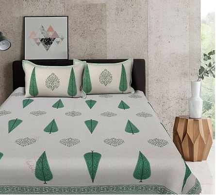 Modern Green Buti Print 88*106 Cotton Double Bedsheet with 2 Pillow Cover