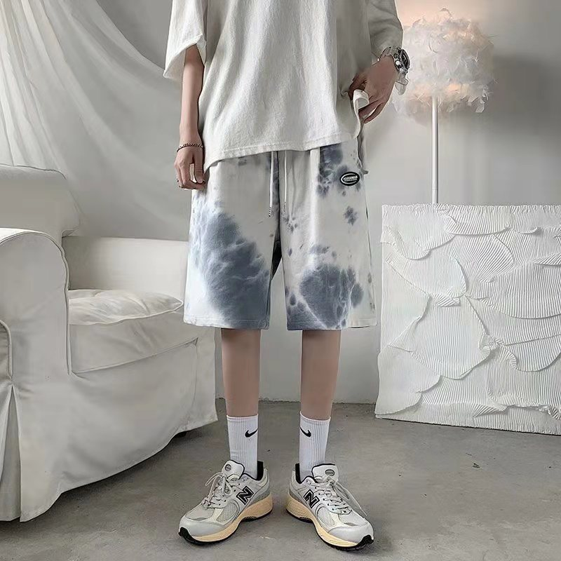 Tie-dyed sports shorts male summer