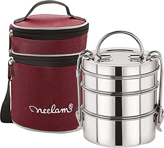 Expresso Stainless Steel Dura Hot 3 Tier 8 Inch Lunch Box with Insulated Carry Bag, Silver-1600 ml