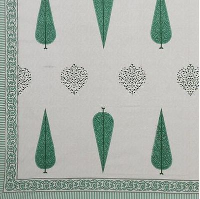 Modern Green Tree Print 88*106 Cotton Double Bedsheet with 2 Pillow Cover