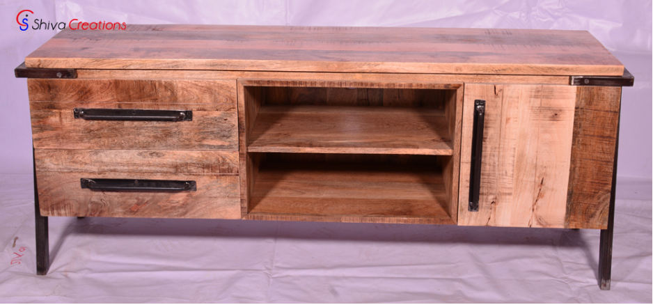 Custom Vintage Industrial Furniture Solid Wood Tv Cabinet Indian Home Decor Shabby Chic Antique
