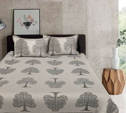 Grey Tree Print 88*106 Cotton Double Bedsheet with 2 Pillow Cover