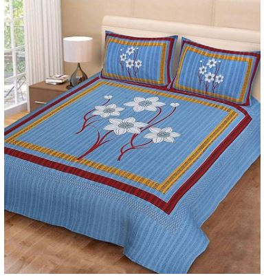 Premium Cotton Blue Bedsheet With 2 Pillow Covers