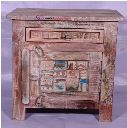 Reclaimed Wood Carved Panel Bedside Nightstand Side Table
