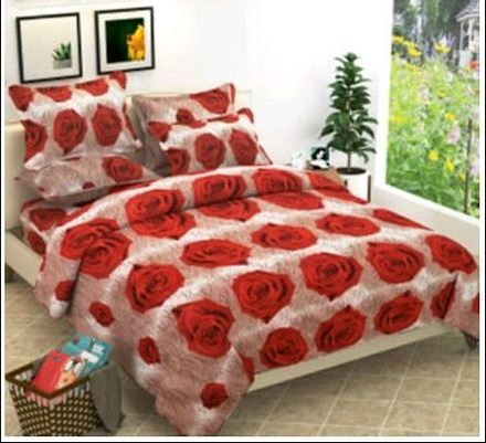 Microfiber Floral Print 1 Double Bedsheet with 2 Pillowcovers