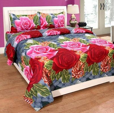 Attractive Microfiber Double 1 Bedsheet + 2 Pillowcovers