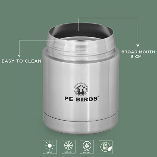 PE BIRDS from the house of peacocks Stainless Steel Hot and Cold Sambar Jar Food Flask , 350ml