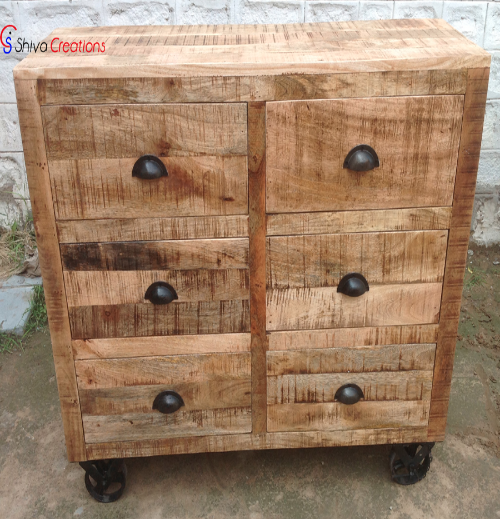 Industrial Vintage Rough Mango Wood Drawer Chest Cabinet