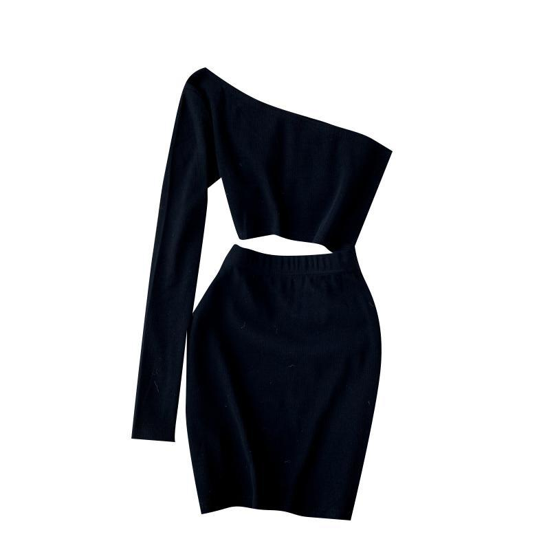 Inclined collar sexy hollow exposed navel short hip skirt dress