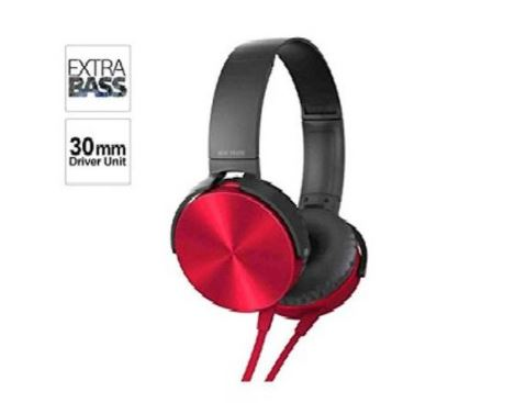 XB450 Wired Extra Bass Over the Head Headphone (Red)