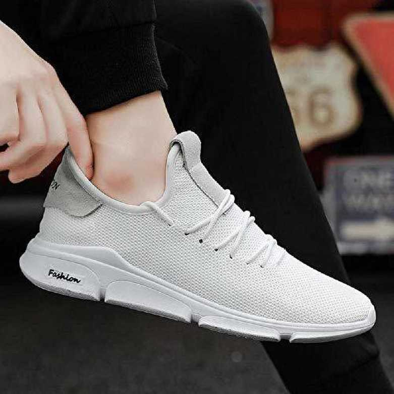 Jumpink  Jumpink Men' S Mesh White Running Sports Walking Casual Sneakers Shoes Sneakers For Men  (White)