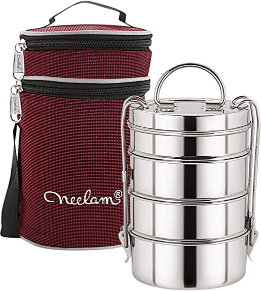Neelam Stainless Steel Dura Hot Food Carrier 4 Tier 9 Inch Big Container Lunch Box with Insulated Carry Bag, Silver