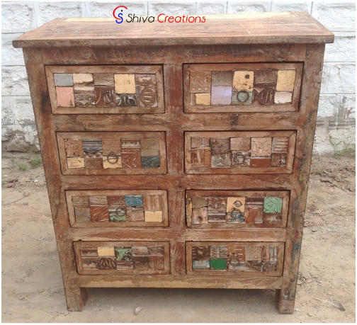 2021 Hot Selling Reclaimed Hand Carved Wood Drawer Chest Cabinet