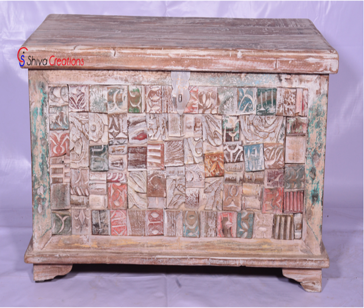 Solid Reclaimed Wood Decorative Storage Chest Box Trunk