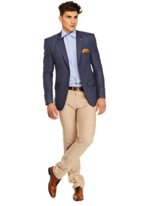 Fashionable Blue Polyviscose Jacket For Mens