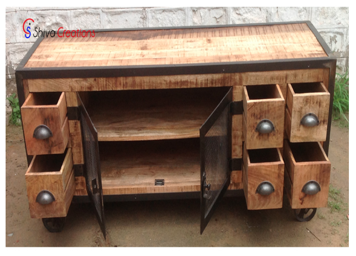 High Quality Industrial Vintage Plasma Tv Stand Cabinet