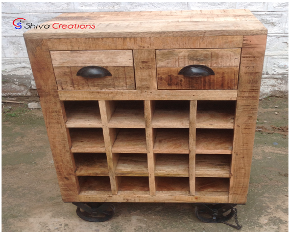 Rustic Vintage Style Shabby Chic Wooden Wine Cabinet Sideboard