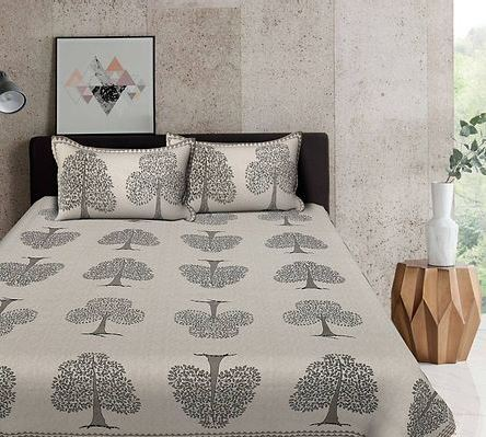 Modern Grey Tree Print 88*106 Cotton Double Bedsheet with 2 Pillow Cover