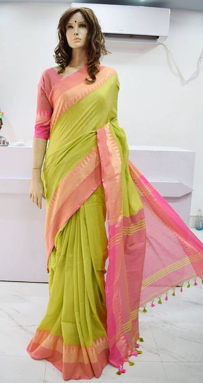 Latest Attractive Cotton Saree    with Blouse piece