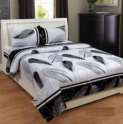 poly cotton double bedsheet with two pillow covers