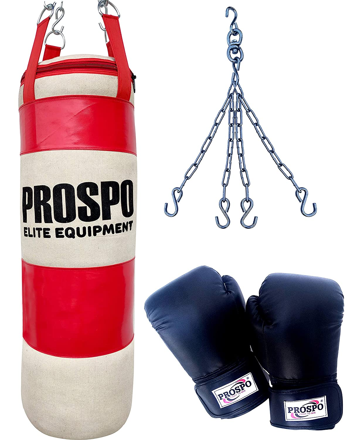 Prospo 3 Feet Extra Strong and Heavy RED&White Canvas Punching Bag with Hand wrap and Chain (Color May Vary)