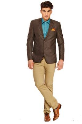 Fashionable Brown Polyviscose Jacket For Men