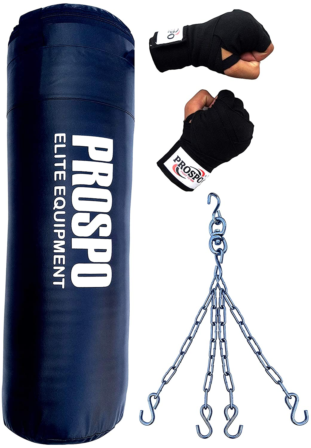Prospo 3 Feet Extra Strong and Heavy SRF Punching Bag with Hand Wrap and Chain