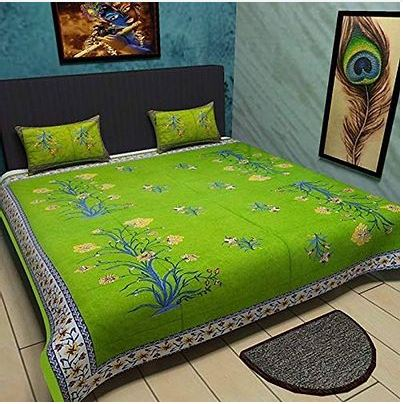 Stylish Green Cotton Queen Size Bedsheet With 2 Pillow Covers