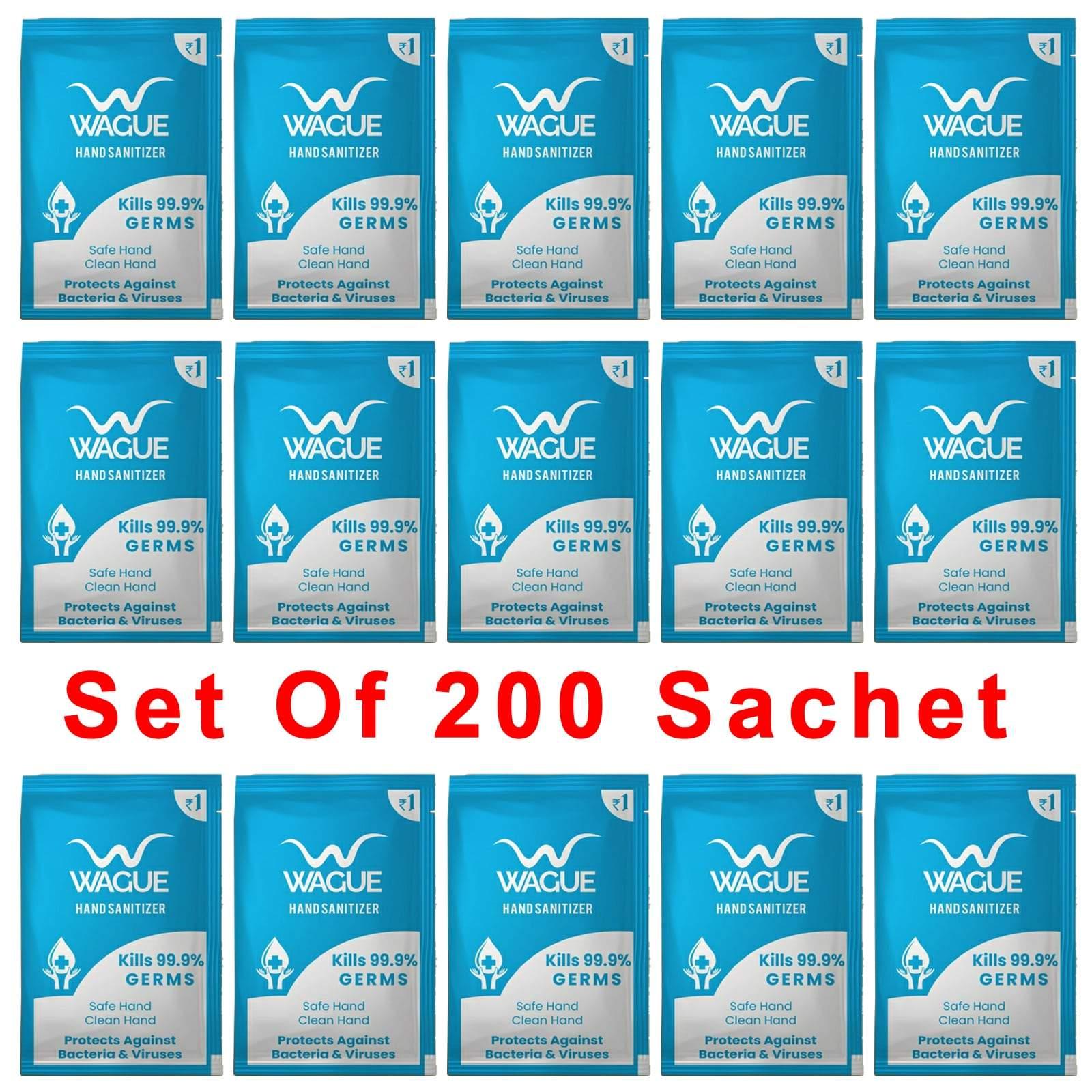 Wague Hand Sanitizer 2 ml Sachet for Party, Marriage Function, Event, Hotels, Office Staff, Set of 200, Pack of 1