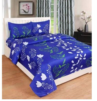 Beautiful Polyester Floral Print Double Bedsheet with Pillow Covers