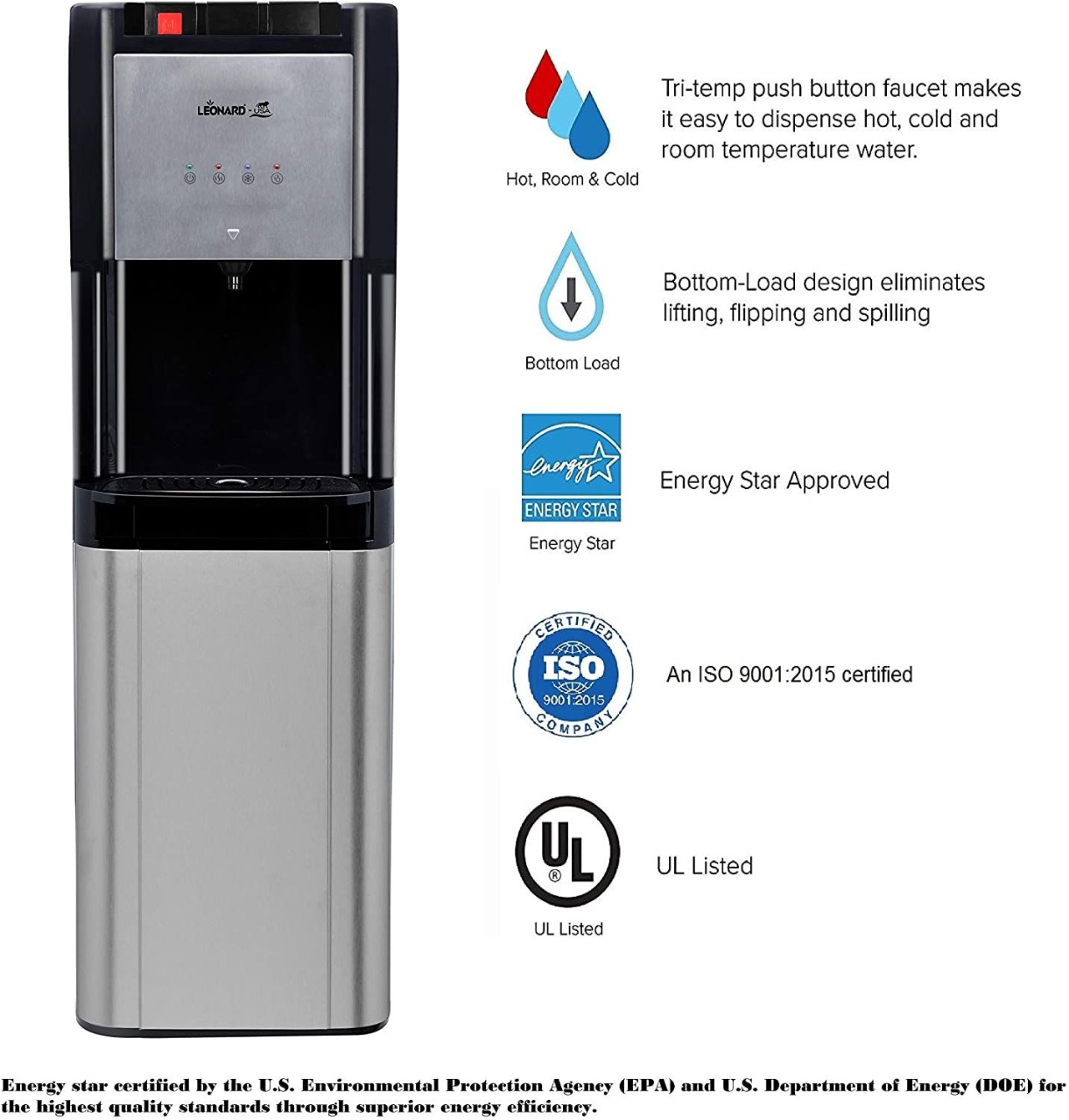 LEONARD USA Inverter Bottom Loading Stainless Steel Water Dispenser with Automatic Cut Off System & Safety Switch, Based on American Technology