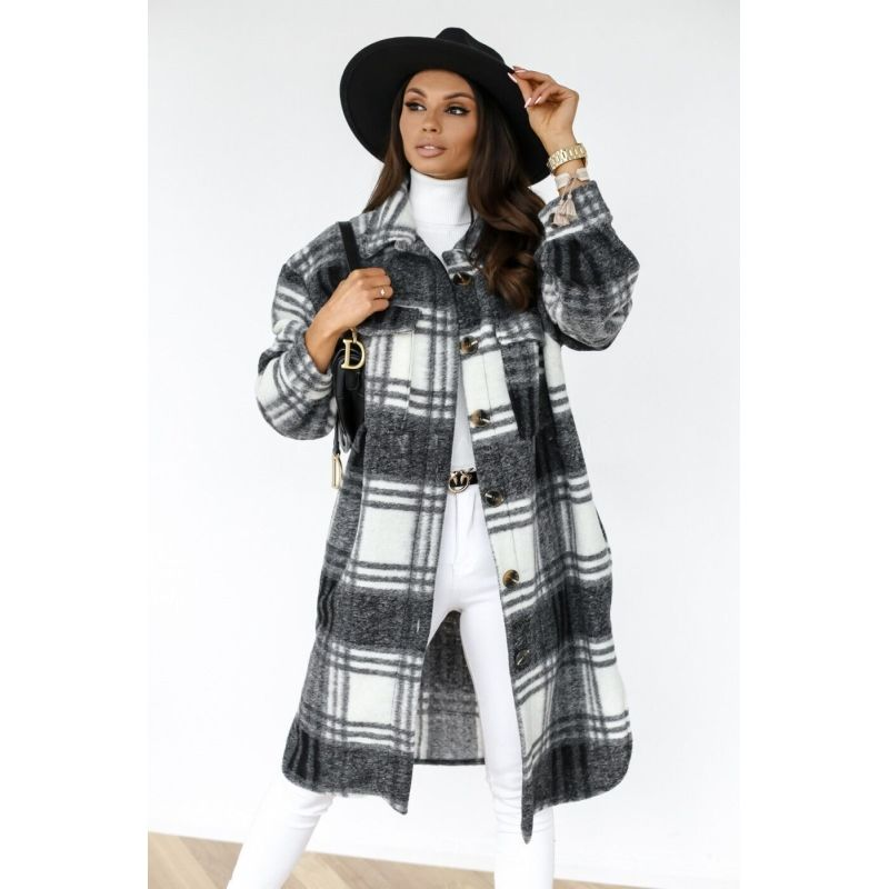 Autumn and winter long-sleeved plaid printed shirt jacket
