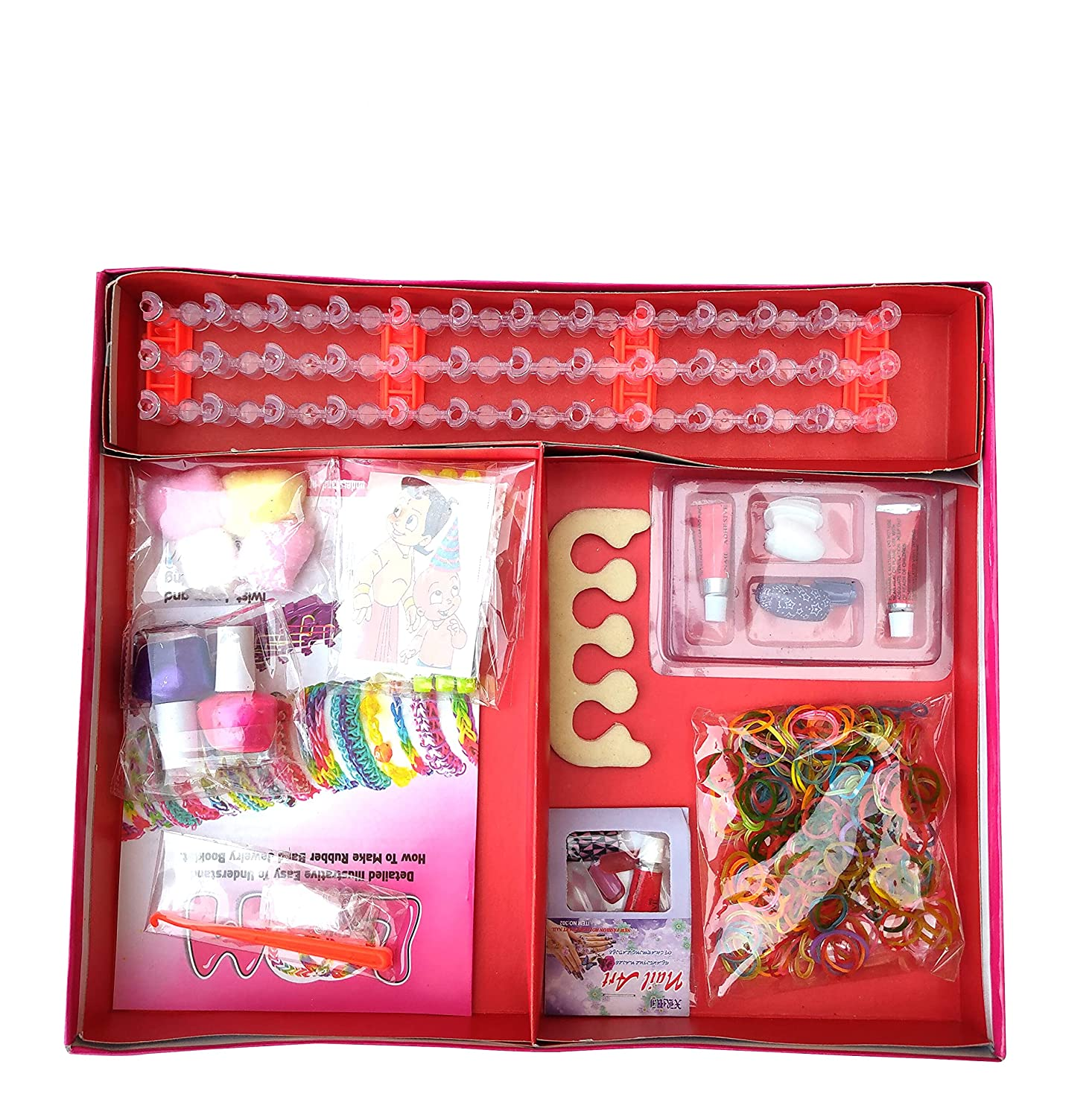 Prospo 3in1 Girls Games, Nail Art - Loom Kit � Jewelry Game, Board Game for Kids, Exclusive Birthday Gift for Girls, Kids Games